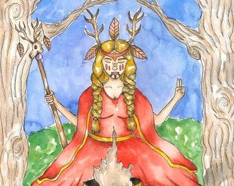 Fantasy Art The Volva Art Original Watercolor Painting Norse Mythology Art Divine Feminine Sacred Norse Priestess Art Pagan Goddess Altar