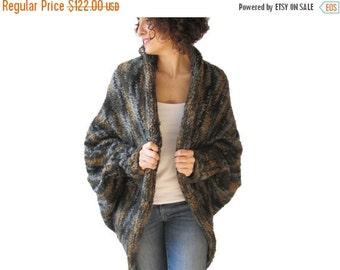 50% CLEARENCE Chunky Green - Grey - Brown - Beige Wool Casual Cardigan