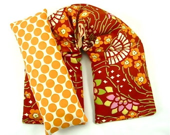 Gift Idea:  Neck Wrap Eye Pillow Hot/Cold Therapy Microwaveable,Reusable Heat Pack, Heating Pad, Floral Red Orange Gift Guide