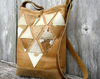 Geometric Leather Small Bucket Cross Body Bag with Ostrich and Hair on Calfskin in Camel - Honey - Ivory and Beige by Stacy Leigh