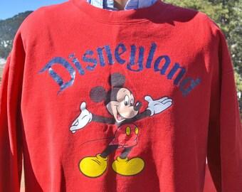 vintage 80s sweatshirt MICKEY MOUSE disney red disneyland california Large XL 90s
