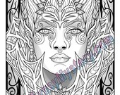 Single Coloring Page - Fey Enchantress from the Magical Beauties Collection - Download, Print & Color!