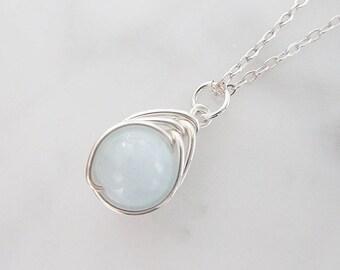 Aquamarine in Sterling Silver necklace, Aquamarine wire wrapped  necklace, Light blue stone necklace, Aquamarine gemstone p
