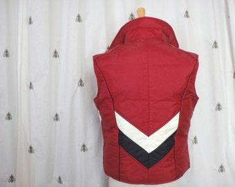Vintage Woolrich Ladies Puffer Vest, Burgundy with White and Black Chevron Stripe, Down F