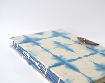 Hand Dyed Indigo Journal with Reclaimed Leather, Handbound Sketchbook with Hand Dyed Covers