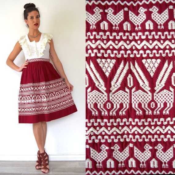 SPRING SALE/ 20% off Vintage 50s 60s Burgundy Red South American Embroidered High Waisted A Line Skirt (size xs)