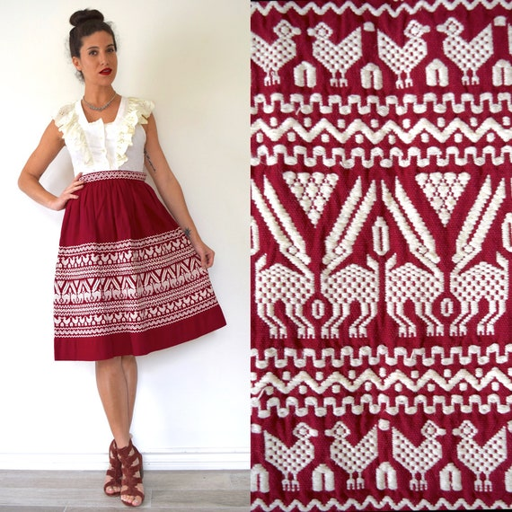 SUMMER SALE/ 30% off Vintage 50s 60s Burgundy Red South American Embroidered High Waisted A Line Skirt (size xs)