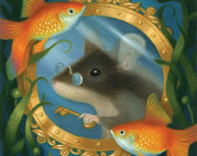 Mouse Painting Art Original Illustration Whimsical Nature Fish Goldfish