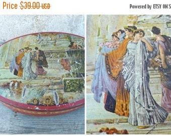 ON SALE 20% Vintage 1900/1920 French extra big lithograph tin box /  Antique scena