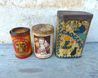 Vintage Antique 1900/1930 set of 3 French adv tin box /Cocoa / La Poule au pot/Bledine milk