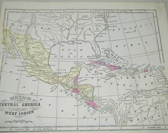 Vintage Antique Central America Map 1866 Monteiths 12815 West Indies