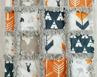 Woodland Deer Quilt - Stag Quilt - Antler Quilt - Arrow Quilt - Navy Blue and Orange- Baby Boy Quilt - Baby Boy Bedding - Woodland Nursery