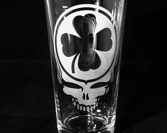 Grateful Dead Saint Patrick's Day Pint Glass Engraved Sandblast Etched Irish Clover or Iced Tea Pub