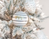 White Striped Christmas Ornament with Gold Lettering for the Holidays