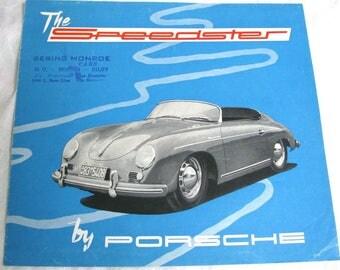 Vintage Porsche Speedster Brochure, 1954, 1955, ORIGINAL, Vintage Porsche Dealership Brochure, Rare Porsche Brochure, Vintage Transportation