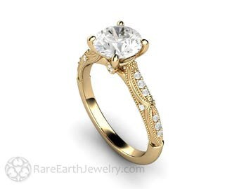 1.5ct Forever One Moissanite Engagement Ring Vintage Art Deco Solitaire with Milgrain 14K or 18K Gold or Platinum