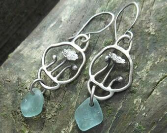 Sea Glass Flower Garden Earrings