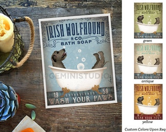Irish Wolfhound dog bath soap Company vintage style artwork by Stephen Fowler Giclee Signed Print