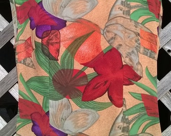 Halston Dress, Vintage Sheath Dress in Tropical Print, Sheer Polyester Crepe, Size 10, made in USA