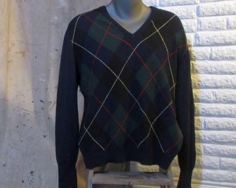 Argyle Vintage Cashmere Sweater Navy argyle Pullover Pringle Cashmere sweater Green Argyle cashmere pullover V neck cashmere Sweater L