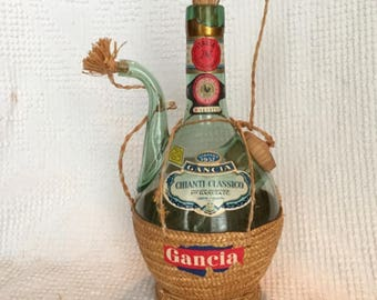 Vintage Chianti Hand Blown Wine Bottle - From 1957 - Classic Design with Spout and Ice Chamber with Wicker Accents - Great Bar Decor or Gift