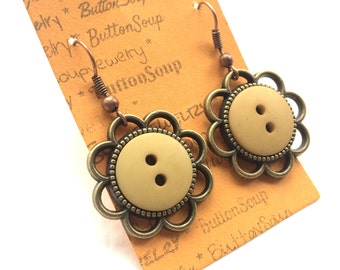 Yellow Vintage Buttons Earrings with brass flowers