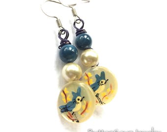 Earrings made from Vintage Buttons with hand painted blue birds