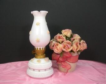 Milk Glass Hurricane Lamp, Applied Roses and Rhinestones, Vintage 1960s Cottage Chic, Vanity Dresser Lamp, Rose Petals Sachet, Ann Shaffer