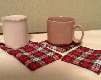 Four Flannel Coasters Red Black Plaid Man Cave Super Bowl Party Valentine Gift