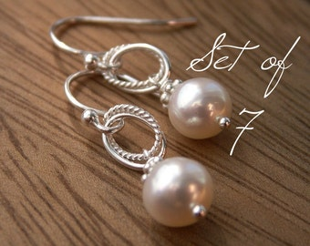 Pearl bridesmaid earrings set of 7, cultured freshwater pearl earrings on solid sterling silver, dangle earrings with white or ivory pearls