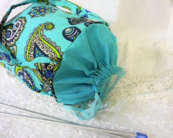 Knitting Project bag - Paisley Print Turquoise -  Drawstring Top - Craft Caddy or Tote Bag - Handmade