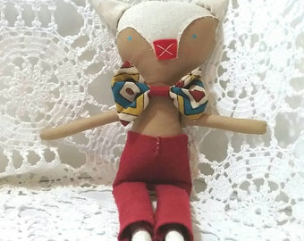 Fabric rag doll, handmade doll, cloth doll, Boy Doll, Fox Doll, handmade cloth doll, Mr Fox, handmade fabric doll, doll for boys