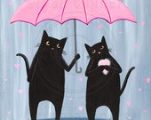 Love Rains Down Valentine Black Cats Original Folk Art Painting