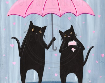 Love Rains Down Valentine Black Cats Original Folk Art Painting