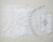 Vintage Embroidered Linen Salvage, Remnant Lot #171...Mixed Lot Scrap Collection...Whitework, Cutwork, Lace Trim, Embroidery