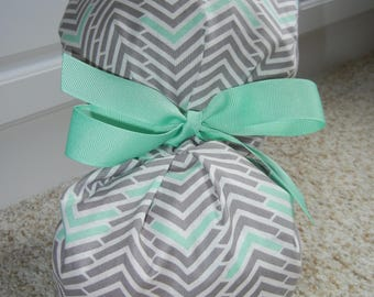 Turn Up Ponytail Scrub Hat with Gray Mint Chevron