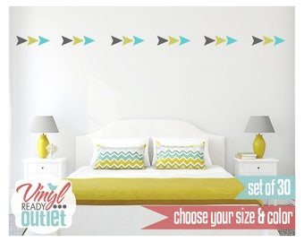 Arrowhead Triangle Tribal Vinyl Wall Decals - Set of 30 - Pick your Size & Color!
