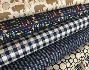 High Adventure fabric bundle, Woodland Animals, Deer fabric, Bear, Arrow fabric, Bundle of 6- You Choose the Cut, Free Shipping Available
