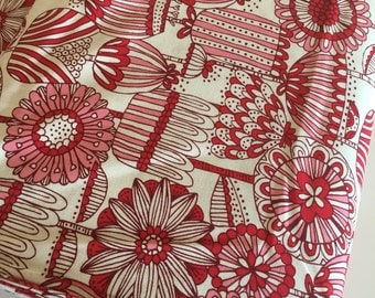 Woodland Nursery fabric, Modern Baby Quilt fabric, Girl Woodland Quilt fabric, Floral, Walk in the Woods Flower in Red, Choose the cut