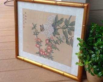 """FREE SHIPPING-Vintage 19"""" x 17"""" Asian Flower & Butterfly Painting on Silk In Gold Bamboo Frame-Chinoiserie-Asian Decor-Framed Art-Bohemian"""