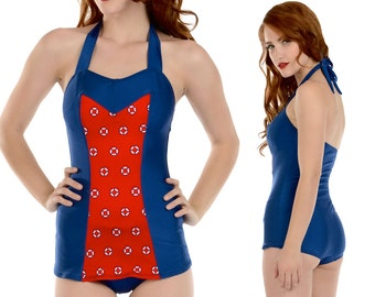 Clementine Swimsuit in Navy with Red Lifering Print S only!!