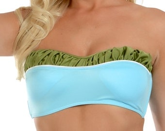 Vanna Removable Halter Bikini Top in Blue and Olive