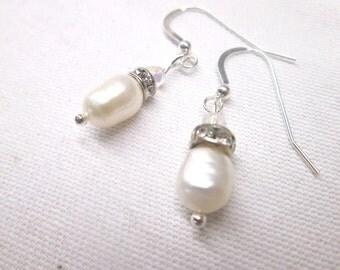 Bridal jewellery, wedding jewellery, bridal earrings, wedding earrings, Sterling silver freshwater pearl drop earrings