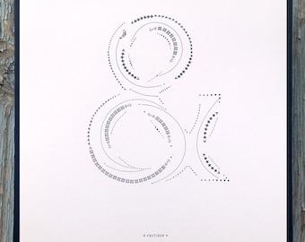 Frutiger letterpress ampersand print