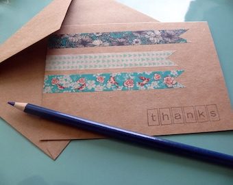 Greeting Card Set, Blank Card Set, Stationery Set, Thank You Card Set, Snail Mail, Set of 6 Cards, Teal and Brown