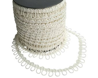 Ivory Ajacent Elastic Bridal Button Looping Trim - Ready to use Wedding Button Holes