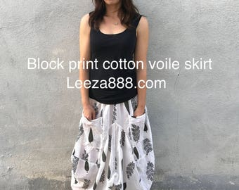 Super fine floral blockprint voile skirt