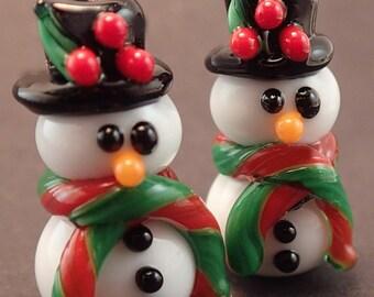 Top Hat Holly Snowmen Pair