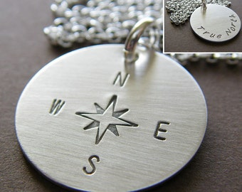 "Custom Sterling Silver Necklace - Personalized Hand Stamped Charm Jewelry - 3/4"" Double-side Stamping Charm (Optional Birthstone or Pearl)"
