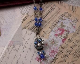 Vintage rhinestone earring pendant necklace